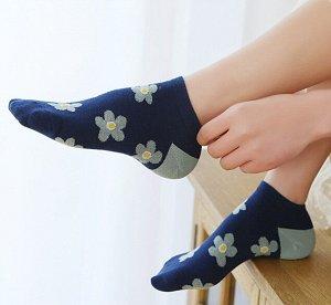 Носки женские короткие синие с ромашками /1пара