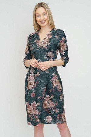 #91814 Платье (Binita) чёрно-изумрудный