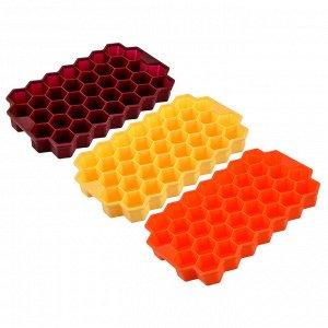 """Форма силиконовая для льда 20х12см, 37 ячеек, """"Соты"""", 3 цвета"""