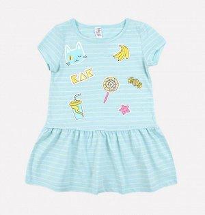 Платье для девочки Crockid К 5490 голубой, сахар полоска