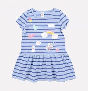 Платье для девочки Crockid К 5490 голубой, синий полоска