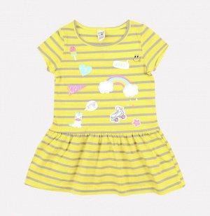 Платье для девочки Crockid К 5490 желтый, серый полоска