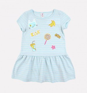 Платье для девочки Crockid К 5490 светло-голубой, сахар полоска