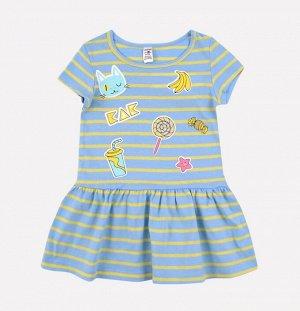Платье для девочки Crockid К 5490 светло-желтый, голубой полоска