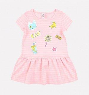 Платье для девочки Crockid К 5490 светло-розовый, сахар полоска