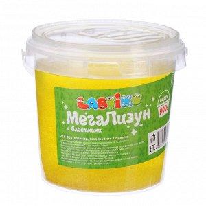 LASTIKS МегаЛизун с блестками, ведро 900г, полимер, 12х12х12 см, 10 цветов