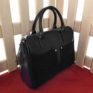 Вместительная сумка Snow_River формата А4 из натуральной кожи и натуральной замши черного цвета.