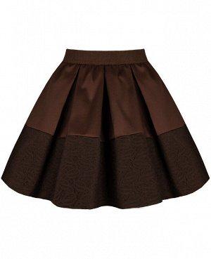 Школьная коричневая юбка для девочки 83375-ДШ20