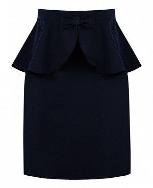 Синяя школьная юбка для девочки 82382-ДШ19