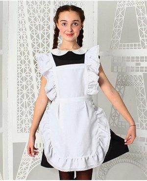Белый школьный фартук для девочки 8347-ДШ19