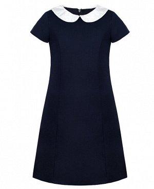 Школьное синее платье для девочки с белым вороником 82302-ДШ19