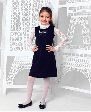 Школьный синий сарафан для девочки 82672-ДШ19