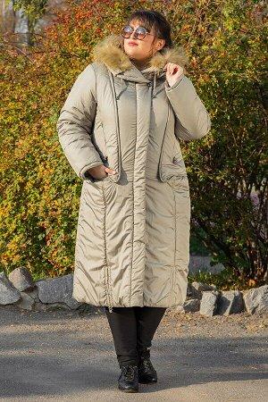 Пальто зимнее длинное Венера оливка