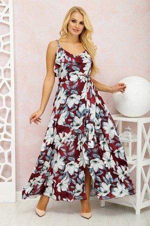 Платье Милена Цветы марсала