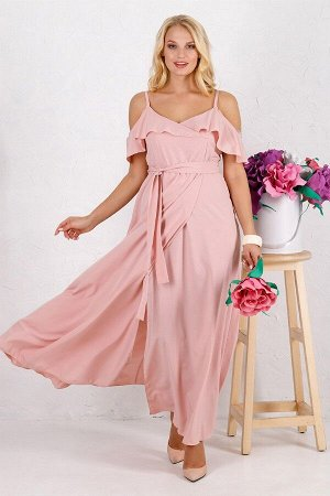 Платье Милена однотон пудра