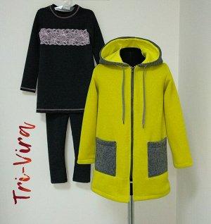 Арт. 3ПТЛ/3-1 Комплект для девочки, пальто+туника+лосины. Размер с 86-140
