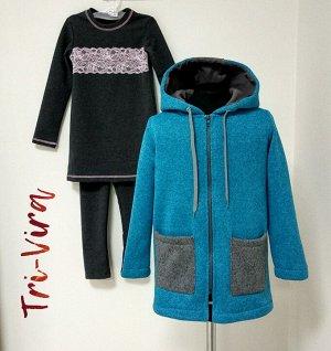 Арт. 3ПТЛ/4 Комплект для девочки, пальто+туника+лосины. Размер с 86-140