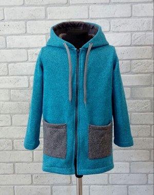 Арт. ФП5 Удлиненное пальто из флиса для девочек. Размер с 86-140