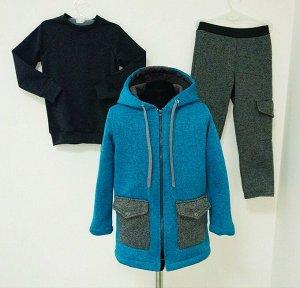 Арт. 3ПСБ/4/1 Комплект для мальчиков пальто+брюки+свитшот. Размер с 86-140