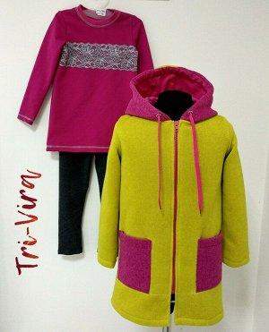 Арт. 3ПТЛ/3 Комплект для девочки, пальто+туника+лосины. Размер с 86-140