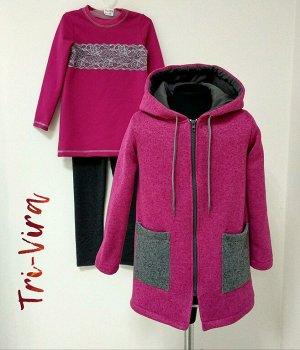 Арт. 3ПТЛ/1 Комплект для девочки, пальто+туника+лосины. Размер с 86-140