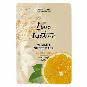 24  мл.* Обновляющая тканевая маска с апельсином и овсом Love Nature