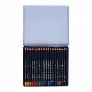 Карандаши акварельные набор 24 цвета, BrunoVisconti Aquapro, в металлическом пенале с ложементом