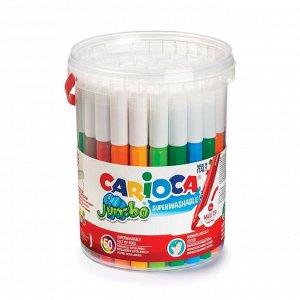 Фломастеры Maxi 50 цветов, Carioca Jumbo 6.0 мм, пластиковое ведёрко