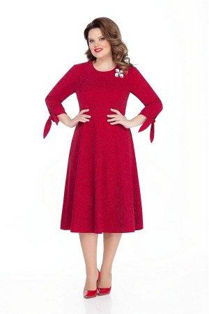 Платье Платье TEZA 303 красный  Состав ткани: Вискоза-20%; ПЭ-78%; Эластан-4%;  Рост: 164 см.  Нарядное платье из трикотажного полотна с эффектом мерцания. Платье приталенного силуэта с втачным рукав
