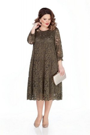 Платье Платье TEZA 304 хаки  Состав ткани: Вискоза-20%; ПЭ-80%;  Рост: 164 см.  Нарядное платье трапециевидного силуэта из ажурного кружева с втачным рукавом. Рукава прямые, внизу с рюшей на резинке.
