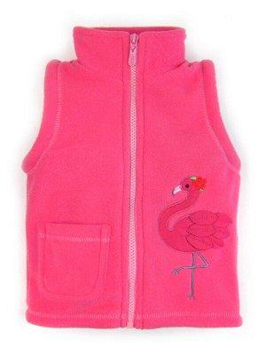 Жилет Цвет: Малиновый; Рисунок: Фламинго; Материал: Флис Очаровательный жилет на молнии, изготовленный из плотного флиса. Кармашек и красивая вышивка с милым фламинго украшают жилет. В таком жилете ва