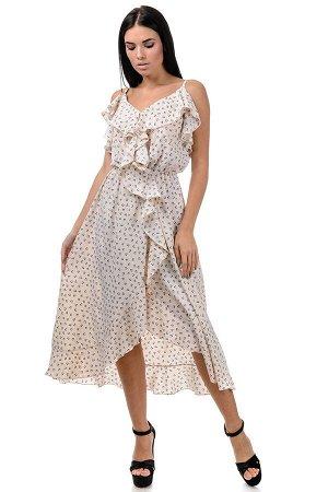 Платье «Рианна», р-ры S-L, арт.365 сердечки беж