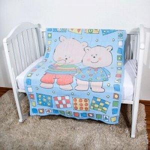 """Одеяло байковое, 100% х/б, оверлок, 100х140  """"Два медведя"""" (голубой) D321511/12BL"""