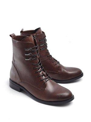 Ботинки демисезонные, коричневая кожа