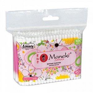 """Палочки ватные гигиенические """"Maneki"""", серия Lovely, с розовым пластиковым стиком, в zip-пакете, 200 шт./упак"""