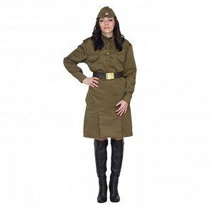 Карнавальный костюм «Солдаточка», пилотка, гимнастёрка, ремень, юбка, р. 40-42