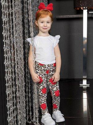 Леопардовые брюки (леггинсы) с цветами для девочки (22941)