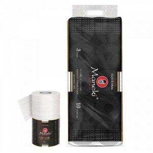 """Бумага туалетная """"Maneki"""", серия Black&White (в ЧЕРНОМ дизайне), 3 слоя, 214 л., 30 м, с ар. зеленого чая, 10 рулонов/упак"""