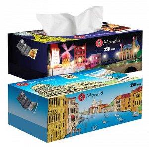 """Салфетки бумажные """"Maneki"""", серия Dream с ар. Европы, 2 слоя, белые, 250 шт./коробка, спайка 3 шт"""