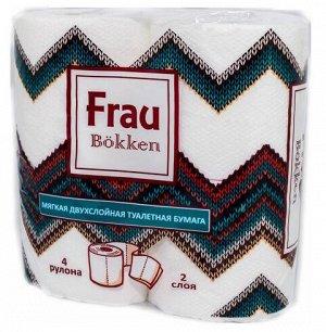 """Туалетная бумага торговой марки """"Frau Bokken"""", 4 рулона, 2 слоя, белая с тиснением"""