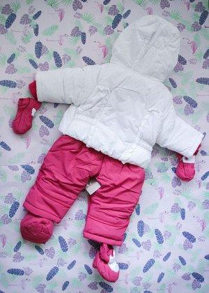 Комбинезон синтепоновый бело-розовый