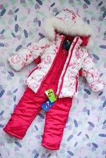 Комбинезон синтепоновый бело-розовый (куртка и штаны)