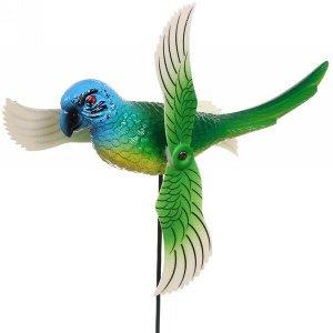 """Фигура на спице """"Попугай"""" 14*40см с крутящимися крыльями"""