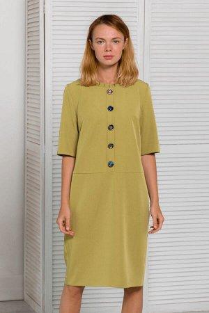 Фисташковое платье прямого кроя с пуговицами