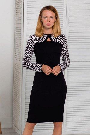 Чёрное платье с контрастным чёрно-белым верхом
