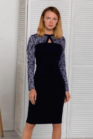 Тёмно-синее платье с контрастным верхом