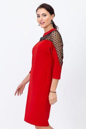 Платье Алые паруса (с кокеткой и вставками по рукаву из сетки)