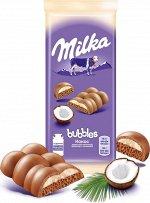 Шоколад Милка Milka Bubbles Молочный пористый с кокосовой начинкой 97г