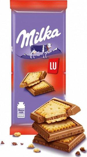 Шоколад Милка Milka Молочный с печеньем LU,87г