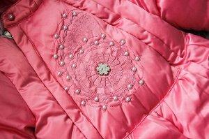 Комбинезон синтепоновый розовый  с декором из страз